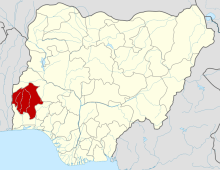 Oyo State on the Nigerian map
