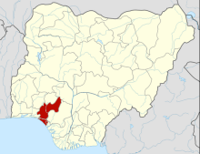 Map of Nigeria showing Ondo State
