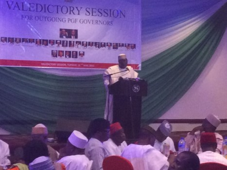 Former vice president Atiku Abubakar delivering his address at the dinner