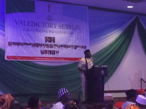 Chairman of Progressives Governors forum and governor of Imo  state, Rochas Okorocha delivering his address at the dinner.