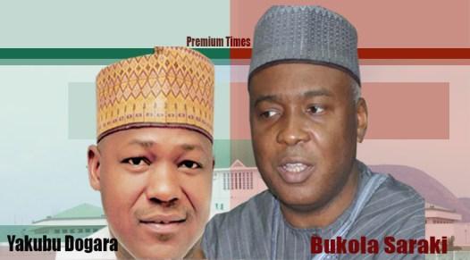 Speaker, House of Representatives, Yakubu Dogara (Left), President of the Senate, Bukola Saraki (right)