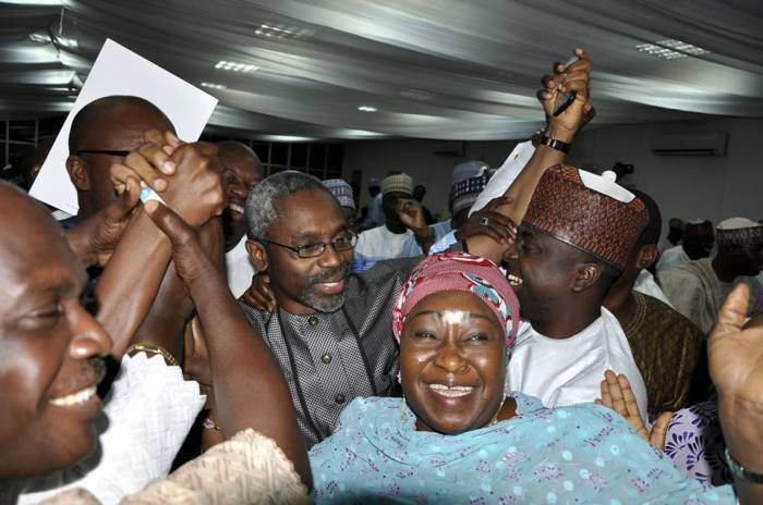 Femi Gbajabiamila and colleagues after the mock election on Saturday