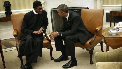 FILE PHOTO: Nigeria's president, Muhammadu Buhari, and U.S. President, Barack Obama in Washington.