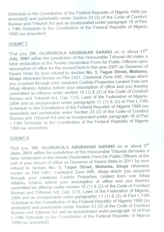 Bukola Saraki charge sheet