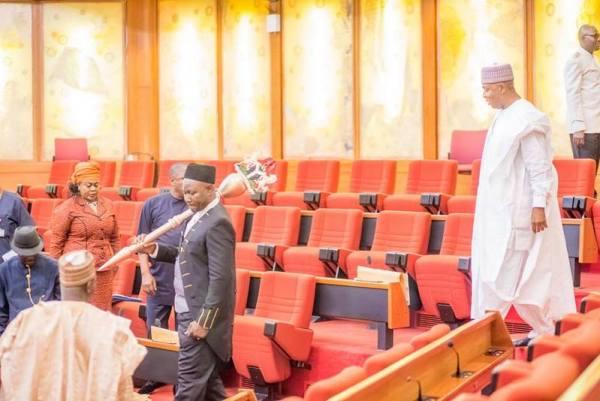 FILE PHOTO: Most seats empty as Senate President Bukola Saraki enters the chamber