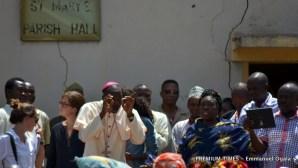 Bishop Stephen Mamza addressing Boko Haram victims that gathered to receive grains.