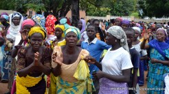 FILE PHOTO: Women who had turned up for the food aid in Shuwa thanking the Bishop as he left.