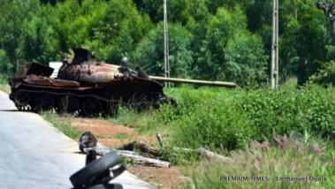 Boko Haram military tank destroyed in Kala, Hong LGA, Adamawa state.