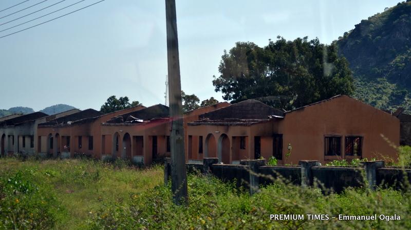 Hong LGA Housing estate completely destroyed by Boko Haram . Photo: Emmanuel Ogala