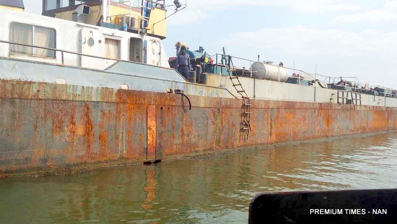 FILE PHOTO: VESSEL SUSPECTED TO BE USED FOR CRUDE OIL THEFT FROM A MAJOR PIPELINE IN DUTCH ISLAND, IMPOUNDED BY THE NIGERIAN NAVY AT OKIRIKA LOCAL GOVERNMENT AREA OF RIVERS STATE