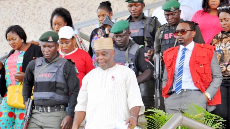 FILE PHOTO: Dokpesi being led by EFCC operatives