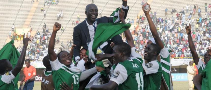 Coach Siasia celebrate victory with U-23 players
