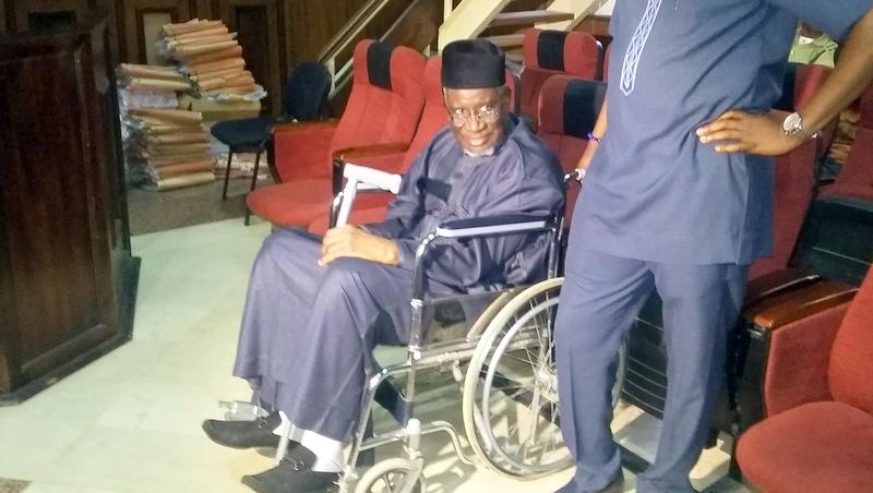 Haliru Bello Mohammed arrives court on wheelchair