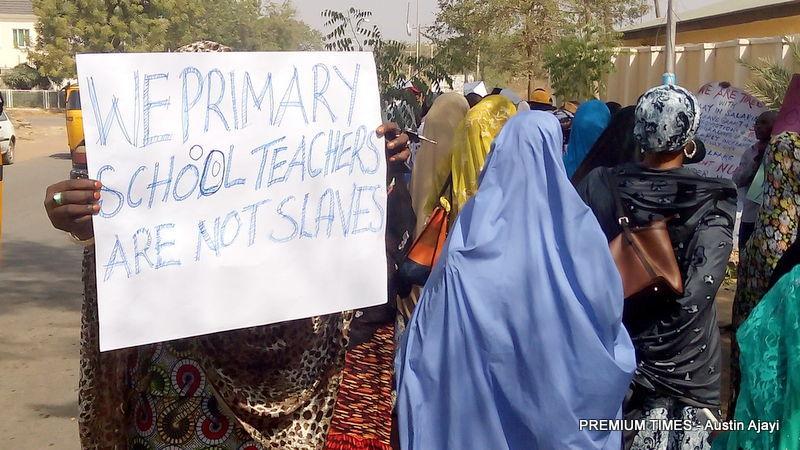 Protesting teachers in Yola