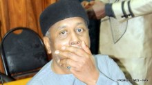 FORMER NATIONAL SECURITY ADVISER (NSA), RETIRED COL. SAMBO DASUKI REACTS   AT THE HIGH COURT OF THE FEDERAL CAPITAL TERRITORY WHERE HE IS STANDING TRIAL OVER   ALLEGED MISAPPROPRIATION OF N32BN ARMS FUND IN ABUJA ON FRIDAY (22/1/16). THE CASE   WAS ADJOURNED TILL FEB. 4 FOR THE HEARING OF THE EX-NSA'S APPLICATION FOR STAY OF   PROCEEDINGS. 0399/22/1/2016/HF/BJO/NAN