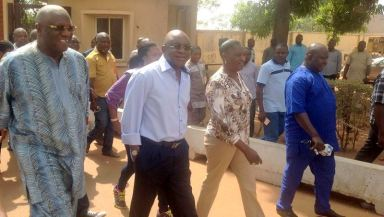 David Mark arriving the polling unit