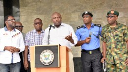 FILE PHOTO: Lagos State Governor, Mr. Akinwunmi Ambode (middle), addressing the media on the rescue of three female students of Babington Macaulay Junior Seminary, Ikorodu at the Lagos House, Ikeja, on Sunday, March 06, 2016. (R-L) With him are Commanding Officer, 9 Mechanized Brigade, Brigadier General Bulama Biu; Commissioner of Police, Mr. Fatai Owoseni; Attorney General & Commissioner for Justice, Mr. Adeniji Kazeem and Commissioner for Information & Strategy, Mr. Steve Ayorinde.