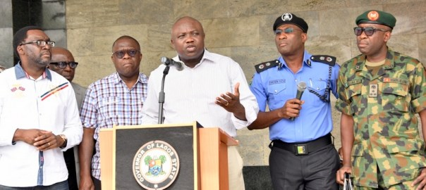 FILE PHOTO: Lagos State Governor, Mr. Akinwunmi Ambode (middle), addressing the media on the rescue of three female students of Babington Macaulay Junior Seminary, Ikorodu at the Lagos House, Ikeja, on Sunday, March 06, 2016. (R-L) With him are Commanding Officer, 9 Mechanized Brigade, Brigadier General Bulama Biu; Commissioner of Police, Mr. Fatai Owoseni; Attorney General  Commissioner for Justice, Mr. Adeniji Kazeem and Commissioner for Information  Strategy, Mr. Steve Ayorinde.