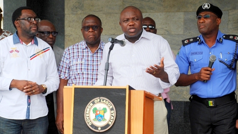Lagos State Governor, Mr. Akinwunmi Ambode (2nd right), addressing the media on the rescue of three female students of Babington Macaulay Junior Seminary, Ikorodu at the Lagos House, Ikeja, on Sunday, March 06, 2016. (R-L) With him are Commissioner of Police, Mr. Fatai Owoseni; Attorney General & Commissioner for Justice, Mr. Adeniji Kazeem and Commissioner for Information & Strategy, Mr. Steve Ayorinde.