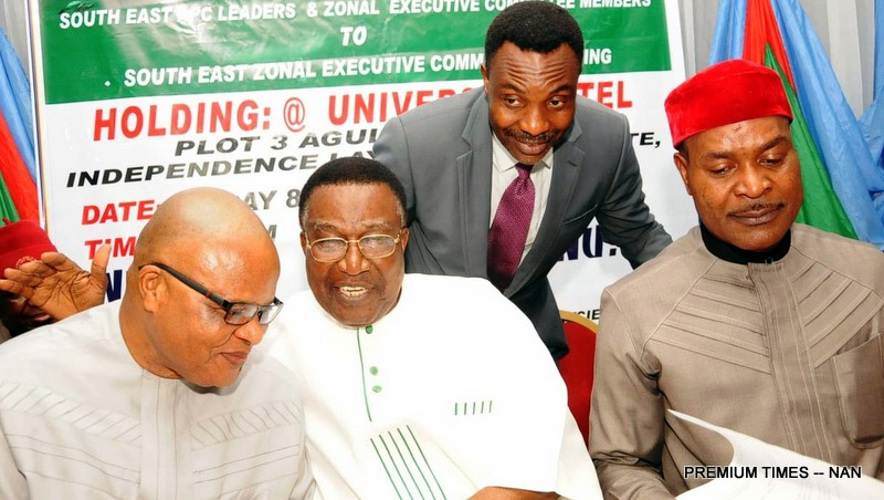 PIC. 1. FROM LEFT:  SEN. IFEANYI ARARUME:   FORMER GOVERNOR OLD ANAMBRA STATE, SEN. JIM NWOBODO; APC CHAIRMAN,  ENUGU STATE, DR  BEN NWOYE AND APC SOUTH-EAST NATIONAL VICE CHAIRMAN, CHIEF EMMA ENUKWU, AT THE  APC SOUTH-EAST ZONAL EXECUTIVE COMMITTEE MEETING IN ENUGU ON SUNDAY (10/4/16). 2841/10/4/16/MAG/JAU/NAN