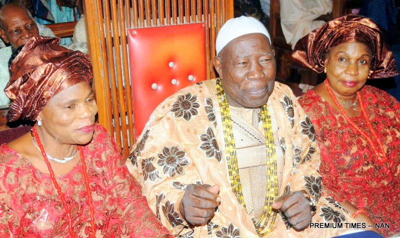 PIC.10.  FROM LEFT:  WIFE OF OLUBADAN, OLORI KUDIRAT ADETUNJI; OLUBADAN OF IBADANLAND, OBA SALIU ADETUNJI; OLORI RASHIDAT ADETUNJI; AT THE THANKSGIVING SERVICE FOR THE OLUBADAN AT CATHEDRAL CHURCH OF ST DAVID KUDETI IBADAN ON SUNDAY (10/4/16).  2850/10/4/2016/OEA/JAU/NAN