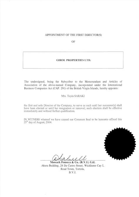 Toyin Saraki - Girol Properties registration