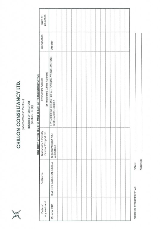 Register of Members for T.B. Joshua's offshore company