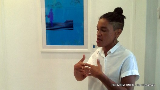 Wura-Natasha Ogunji explaining one of her works.