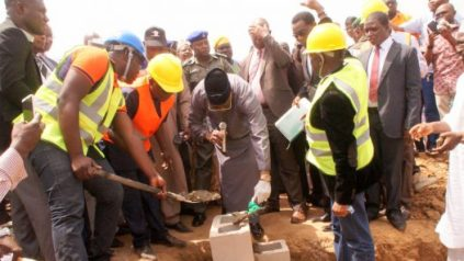 Governor Abdulfatah Ahmed laying the foundation for the 1000 Maigida Housing Estate at Budo Osho Tanke, Ilorin