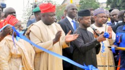 FROM LEFT: Deputy Governor Of Lagos State, Dr Idiat Adebule; Gov. Akinwunmi Ambode Of Lagos State; Former Governor And Minister Of Power, Works And Housing, Mr Babatunde Fashola (San); Vice President Yemi Osinbajo, And Gov. Abubakar Bagudu Of Kebbi State, At The Inauguration Of Lagos State Emergency Management Agency (LASEMA) Rescue Equipment, During The Vice President's Visit To Lagos State As Representative Of President Muhammadu Buhari On Monday (23/7/16).3747/23/5/2016/MA/BJO/NAN