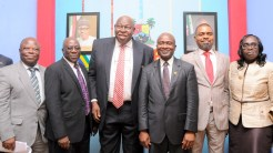 L-R: Chairman, Health Service Commission, Dr. Bayo Aderiye; Permanent Secretary, Ministry of Information & Strategy, Mr. Fola Adeyemi; Special Adviser to the Governor on Primary Healthcare, Dr. Olufemi Onanuga; Commissioner for Health, Dr. Jide Idris; Chairman, Lagos House Committee on Health, Hon. Olusegun Olulade and Permanent Secretary, Ministry of Health, Dr. (Mrs.) Omodele Osunkiyesi during the Y2016 Ministerial Press Briefing to commemorate the First Year in Office of Governor Akinwunmi Ambode, at the Bagauda Kaltho Press Centre, the Secretariat, Alausa, Ikeja, on Tuesday, May 3, 2016.