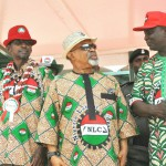 FROM LEFT: PRESIDENT,TRADE UNION CONGRESS,COMRADE BOBBOI KAIGAMA; MINISTER OF FEDERAL CAPITAL TERRITORY, ALHAJI MOHAMMED BELLO; MINISTER OF LABOUR AND EMPLOYMENT, SEN. CHRIS NGIGE AND PRESIDENT NIGERIA LABOUR CONGRESS, COMRADE AYUBA WABBA, DURING THE 2016 MAY DAY CELEBRATION IN ABUJA ON SUNDAY (1/5/16). 3278/1/5/2016/OTU/CH/NAN