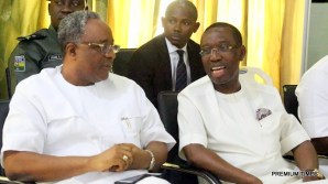 Delta State Governor, Senator Ifeanyi Okowa (left) and Chief Lawrence Osiegbu, during the Ika North-East Local Government PDP Congress Executive Committee, in Boji Boji Owa.