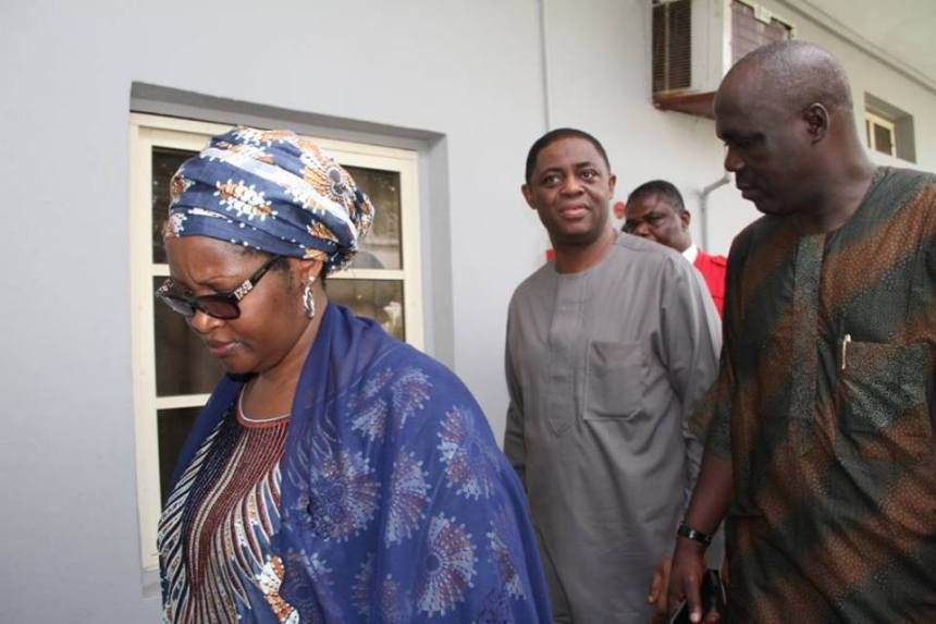 Nenadi Usman and Femi Fani-Kayode being arraigned in court