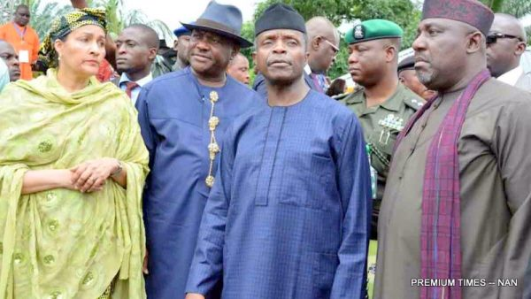 FILE PHOTO: FROM LEFT: Minister of Environment, Mrs Amina Mohammed; Gov. Nyesom Wike of Rivers; Vice President Yemi Osinbajo and Gov. Rochas Okorocha of Imo, at the Launch of the Clean-Up of Ogoniland And Other Oil-Spill Affected Communities In The Niger Delta at Bodo Town, Gokana Local Government Area of Rivers on Thursday (2/6/16)