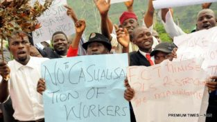Drivers of Abuja Urban Mass Transport Company protesting this July over non-payment of their six months salary in Abuja