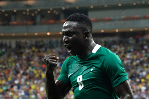 Nigeria s player Oghenekaro Etebo (8) celebrates the team s third goal  against Japan during the c70f7077987c4