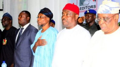 Governor State of Osun, Ogbeni Rauf Aregbesola (3rd right); Rivers State Governor, Chief Nyesom Ezenwo Wike (2nd right), Lagos State Commissioner for Information & Strategy, Mr. Steve Ayorinde (left), Former Governor of Ogun State, Chief Olusegun Osoba (right), Bayelsa State Commissioner for Information and Orientation, Hon. Obuebite Jonathan (2nd left), at the 12th Edition of the All Nigeria Editors' Conference tagged (ANEC 2016), at Presidential Hotel, Port Harcourt, River State, on Friday 5/8/2016.