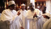 FILE PHOTO: President Muhammadu Buhari with Senate President Bukola Saraki and Speaker Yakubu Dogara