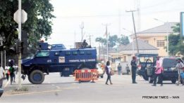 Armoured Personnel Carriers from the Anti-Terrorism Squad from the Police Base 3 in Rivers Barricading the access to the Sharks Stadium, Venue of the PDP National Convention in Port Harcourt. (17/8/16)