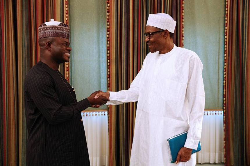 File photo of President Muhammadu Buhari with Kogi State Governor Yahaya Bello
