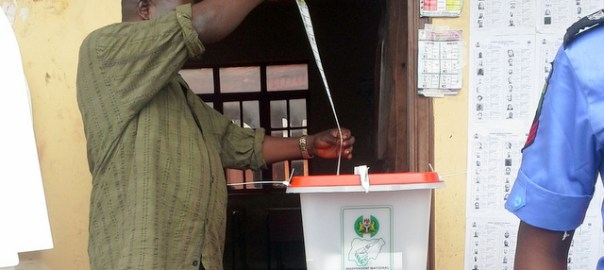 A file photo of someone voting used to illustrate the story.