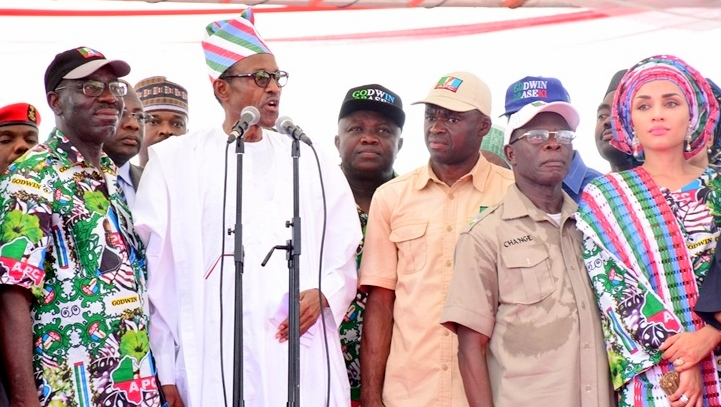 FILE PHOTO: L-R: All Progressives Congress (APC) Gubernatorial Candidate, Mr. Godwin Obaseki; President Muhammadu Buhari; Lagos State Governor, Mr. Akinwunmi Ambode; APC Deputy Gubernatorial Candidate, Mr. Phillip Shuaibu; Edo State Governor, Mr. Adams Oshiomhole and his Wife, Iara during the Edo State APC Grand Finale Campaign at the Samuel Ogbemudia Stadium, Benin, on Tuesday, September 6, 2016.
