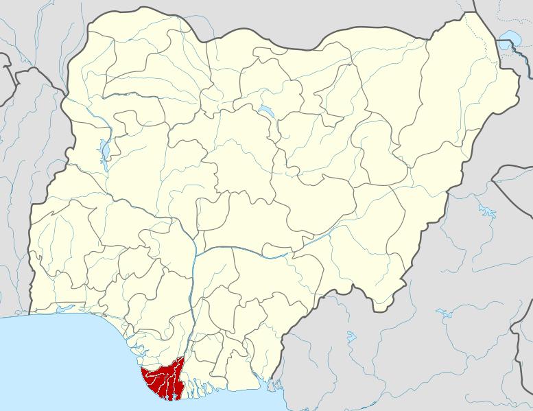 Bayelsa on Nigerian map