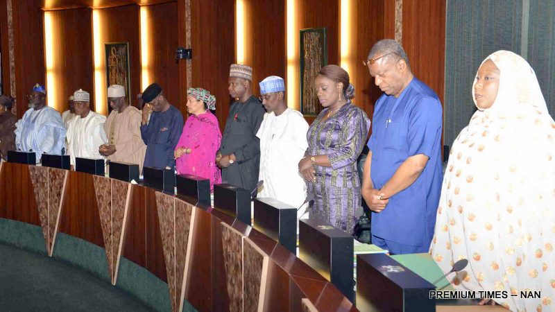 A cross-section of Ministers at the Federal Executive Council Meeting at the Presidential Villa