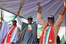 President Buhari presents APC's Rotimi Akeredolu to Ondo's voters