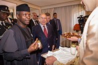 His Excellency Vice President Prof Yemi Osinbajo SAN, GCON being traditionally welcomed at the residence with Mr Ramtane Lamamra, Min of State, Foreign Affairs & International Cooperation, Algeria, 13th Dec 2016. Photo by: Novo Isioro.