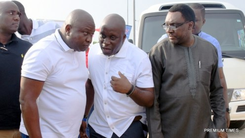 Lagos State Governor, Mr. Akinwunmi Ambode (3rd right), with his Special Adviser on Sports, Mr. Deji Tinubu and Commissioner for Information & Strategy, Mr. Steve Ayorinde during the Opening of the 2016 COPA Lagos Beach Soccer Tournament at the Eko Atlantic City, Victoria Island, Lagos, on Sunday, December 11, 2016.