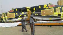 Bell Helicopters seized by Nigeria Customs [Photo credit: Instagram - @miss_atedze]
