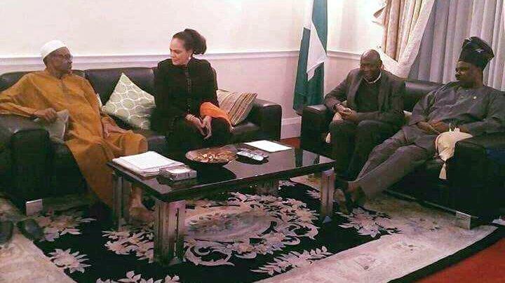 President Buhari in company of Gov. Ibikunle Amosun, others. [Photo credit: Twitter - Garba Shehu]